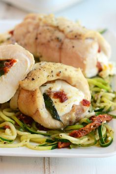 Caprese Stuffed Chicken Breasts with Garlic Zoodle Pasta