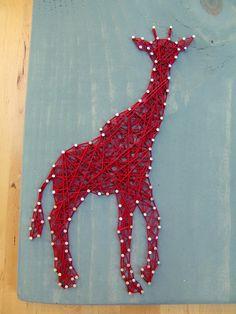 Modern String Art Wooden Tablet Giraffe by NineRed on Etsy