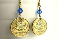 Lithuanian coin earrings, Brass earrings, Sapphire earrings, Horse earrings, Sapphire jewelry, Horse jewelry, Boho, Lithuania, Coins, 1997 by CoinStories on Etsy