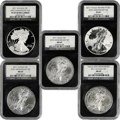 2011 25th Anniversary Silver American Eagle 5 Piece (pc) Set 69 NGC Retro Holder    In celebration of its 25th Anniversary, NGC is offering a stunning limited-edition NGC Retro Holder and special label.     This unique limited-edition NGC Retro Holder and special label is reminiscent of the original holders used in 1987 featuring a sleek black core, only while supplies last.