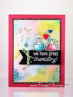 Lawn Fawn - Science of Love _ beautiful watercolor background on this cute card by Kelli _ Distress Marker We Have Great Chemistry 1 | Flickr - Photo Sharing!