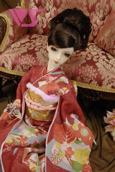 hell one Size oriental village Kimono aus Satin rosa