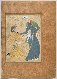 *Very interesting fabrics, and another cape like garment*   A Young Man Offering a Cup of Wine to a Girl  • Persian, Safavid, 16th century  possibly Herat, Afghanistan or Iran   A young man offering a cup of wine to a girl. Possibly by Muhammadi.