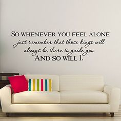 Wall Decals Quotes So Whenever You Feel Alone Mufasa Quote Vinyl Lettering Kids Room Nursery Children Wall Art Home Decor Q262 #walldecals #lettering #vinylstickers #quotes http://www.amazon.com/dp/B01637N4T2/ref=cm_sw_r_pi_dp_.J4dwb134Z4N7