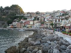 view of the seafront of Parga town  located in the northwestern part of the regional unit of Preveza in Epirus, northwestern Greece