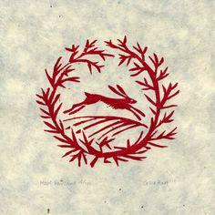 'Hare Garland' woodcut 10 x 10 cm - Celia Hart Linocut Prints, Art Prints, Block Prints, Linoprint, Rabbit Art, Bunny Art, Wood Engraving, Tampons, Making Ideas