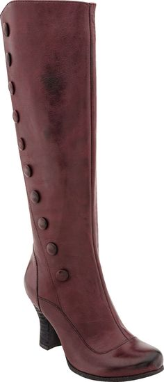 Miz Mooz Krista Tall boot, women, shoes with vintage styling, hand finished leather, and unexpected detailing, PlanetShoes.com (Wine)
