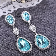 Buy Silver Tone Austrian Teardrop Aquamarine - Silver-Tone- Aquamarine Color - and Find Large Selection of Designer Jewelry at Best Prices Designer Jewelry, Designer Earrings, Jewelry Design, Aquamarine Colour, Drop Earrings, Silver, Gifts, Stuff To Buy, Color