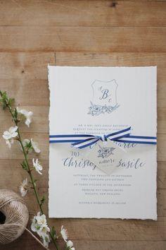 Just My Type Wedding Invitation and Wedding Stationery Design NZ French Rustic Navy Blue Srtipe