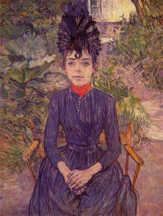 Henri de Toulouse-Lautrec.  Porträt der Justine Dieuhl im Garten von »Père Forest«. 1890, Öl auf Karton, 74 × 58 cm. Paris, Musée d'Orsay. Frankreich. Postimpressionismus.  KO 02249