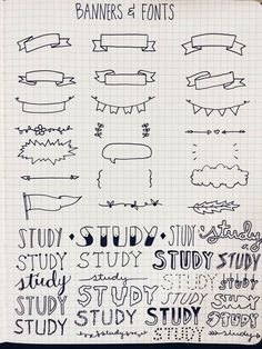 Banners and fonts - bullet journal journaling hand lettering My Journal, Bullet Journal Inspiration, Journal Fonts, Photo Journal, 100 Days Of Productivity, Pretty Notes, Cute Notes, Sketch Notes, School Notes