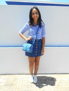 http://unachicasual.blogspot.com.es/2015/06/stripes-denim.html  shirt, skirt, denim, stripes, blue, white, sneakers, bag, inspiration, ideas, summer, ootd, outfit, look, fashion, blogger, girl, brunette