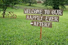 Welcome To Our Happily Ever After Wedding Sign will make a wonderful piece to add to your shabby-rustic wedding decor. Handmade and hand