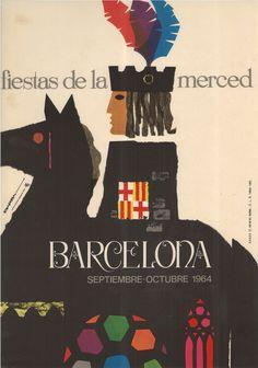 #Cartells #Franquisme #Festes_de_la_Mercè  #Barcelona Barcelona, Las Mercedes, Spanish Design, Balearic Islands, Advertising Poster, Vintage Travel Posters, North Africa, Pop Art, The Past