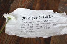 The acupuncture diaries, a first timer discusses her acupuncture experiences.  Beautifully presented