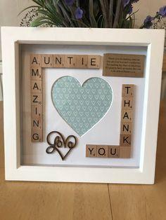 Amazing Auntie scrabble photo ox Frame Gift. Thank you Auntie Present. #scrabble #scrabbleboxframe #auntiegift #auntygift