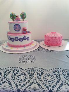 """Look Who's 1"" birthday cake and smash cake I made."