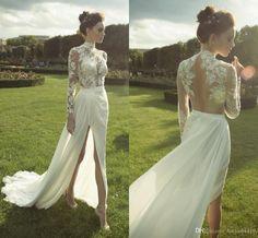 Wedding Dresses 2016 Bohemian A Line High Neck Long Sleeve Illusion Lace…