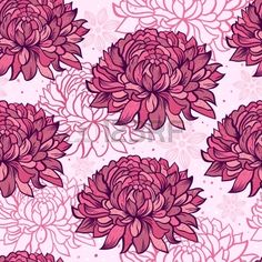 Illustration of seamless pattern with hand drawn chrysanthemums Stock Vector
