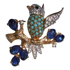 Jomaz Bird on Branch Pin Brooch offered by Not Just MUSI bows on Ruby Lane