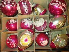 VTG CHRISTMAS STENCILED DAD ORNAMENTS-INDENT--TINSEL PINK ORNAMENTS--SHINY BRITE