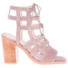Sol Sana Molly Heel Heeled Lace-Up Sandal (1,180 CNY) ❤ liked on Polyvore featuring shoes, sandals, heels, taupe, lace up sandals, suede lace up shoes, lace up shoes, laced up shoes and taupe sandals