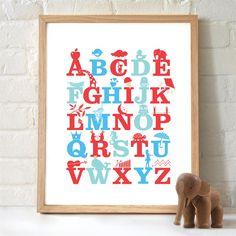 Monkey Caboose Alphabet Print - Various Colours - Monkey Caboose