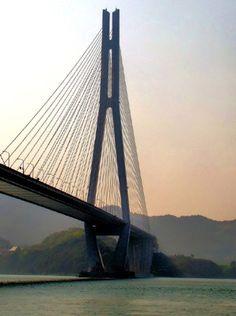 The Tatara Bridge connecting Ikuchijima with Omishima.