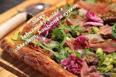 Slaný labužnický koláč s chřestem, houbami a sýrem Pork, Meat, Kale Stir Fry, Pork Chops