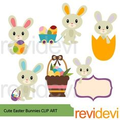 Easter bunny clip art. Cute Easter bunnies clipart set includes 6 graphics. A good collection for your Easter day projects. Great resource for any school and classroom projects such as for creating bulletin board, printable, worksheet, classroom decor, craft materials, activities and games, and for more educational and fun projects.You will receive:- Each clipart saved separately in PNG format, 300 dpi with transparent background.- Each clipart saved separately in JPG format, 300 dpi with…