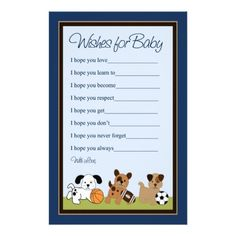 Bow Wow Puppy Dogs/Sports Wishes for Baby Letter Stationery