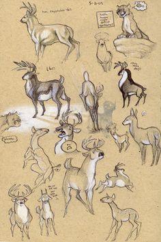 Deer sketchpage by Kobb.deviantart.com on @deviantART