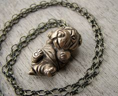 Shar pei puppy dog necklace by AnnaSiivonen on Etsy