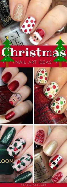 29 festive christmas nail art ideas stayglam for xmas · red white christmas nails acrylic gel Christmas Nail Polish, Holiday Nail Art, Xmas Nails, Christmas Nail Art Designs, Easy Christmas Nails, Holiday Makeup, Christmas Ideas, Valentine Nails, Halloween Nails