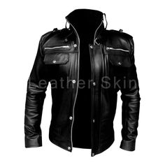Leather Skin Men Black Genuine Leather Jacket with Front Chest Pockets - Leather Skin Shop Revival Clothing, Stylish Jackets, Casual Jackets, Men's Jackets, Leather Skin, Fashion Night, Looks Style, Look Cool, Menswear