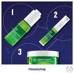 The simple night-time routine that makes skin looks healthier and more youthful:http://www.thebodyshop.co.za/store/product/drops-of-youthbouncy-sleeping-mask #beautysleep