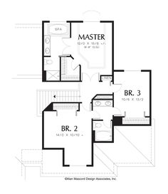 Upper Floor Plan of Mascord Plan 2209 - The Armstrong - Traditional Plan, Grand Master Bath and 3 Car Garage