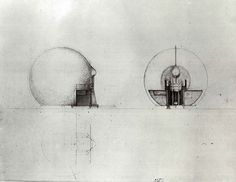 drawing plan, elevation and section of 'Intensivbox' - by Walter Pichler, 1967
