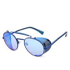 fdfea48d5 Vintage Steampunk All Blue Round Polarized Pilot Goggles