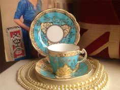 VINTAGE CHINA TRIO VICTORIAN TURQUOISE AND GOLD PERFECT YOUR VINTAGE TEASET