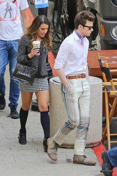 Lea Michele and Chris Colfer