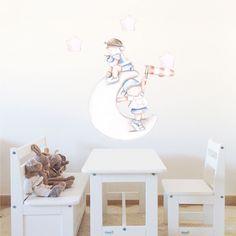Decoración infantil Il Mondo di Alex, Vinilos - Stickers efecto pintado a mano, PIRATAS SOBRE LA LUNA... personalizado con nombre y a medida.