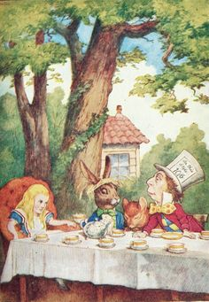 "Alice's Adventures in Wonderland - John Tenniel ""A Mad Tea-Party"" - Alice with the March Hare and the Mad Hatter"