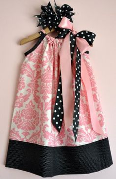 Light Pink Damask & Black Pillowcase Dress.  This is beautiful! Maybe I'll copy it for Ellyson!