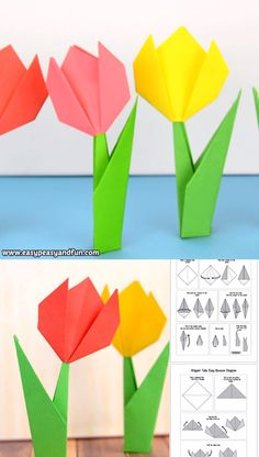 Learn how to make origami flowers – this origami tulip tutorial will teach you how to make a super easy flower that stands on it's own! flowers easy How to Make Origami Flowers – Origami Tulip Tutorial with Diagram Flower Crafts Kids, Paper Crafts For Kids, Fun Crafts, Diy And Crafts, Clown Crafts, Preschool Crafts, Origami Simple, Easy Origami For Kids, How To Make Origami
