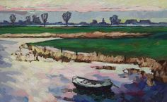 Kees Bol, Pond across from Bokhoven, 2004 Abstract Landscape Painting, Landscape Paintings, Impressionist Art, Dutch Artists, White Image, Still Life, Portrait, Pond, Holland