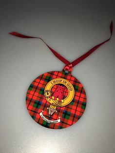 Aluminium Christmas ornament with MacNaughton clan crest and tartan