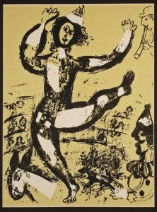 Circus in Yellow Original Lithograph by Marc Chagall