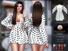 The Sims 4 mody do gry: Sukienka Polka Dot od Busra-tr Sims 4 Tsr, My Sims, Vêtement Harris Tweed, Sims 4 Stories, Los Sims 4 Mods, The Sims 4 Cabelos, Sims 4 Children, Sims4 Clothes, Sims 4 Dresses
