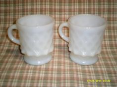 Set of 2 Fire King-Anchor Hocking White Kimberly by ItHasGotToGo